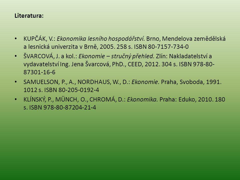 Literatura: KUPČÁK, V.: Ekonomika lesního hospodářství.