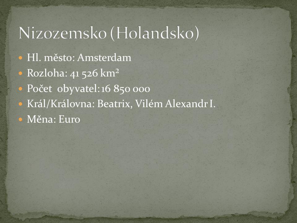 Hl. město: Amsterdam Rozloha: 41 526 km² Počet obyvatel: 16 850 000 Král/Královna: Beatrix, Vilém Alexandr I. Měna: Euro