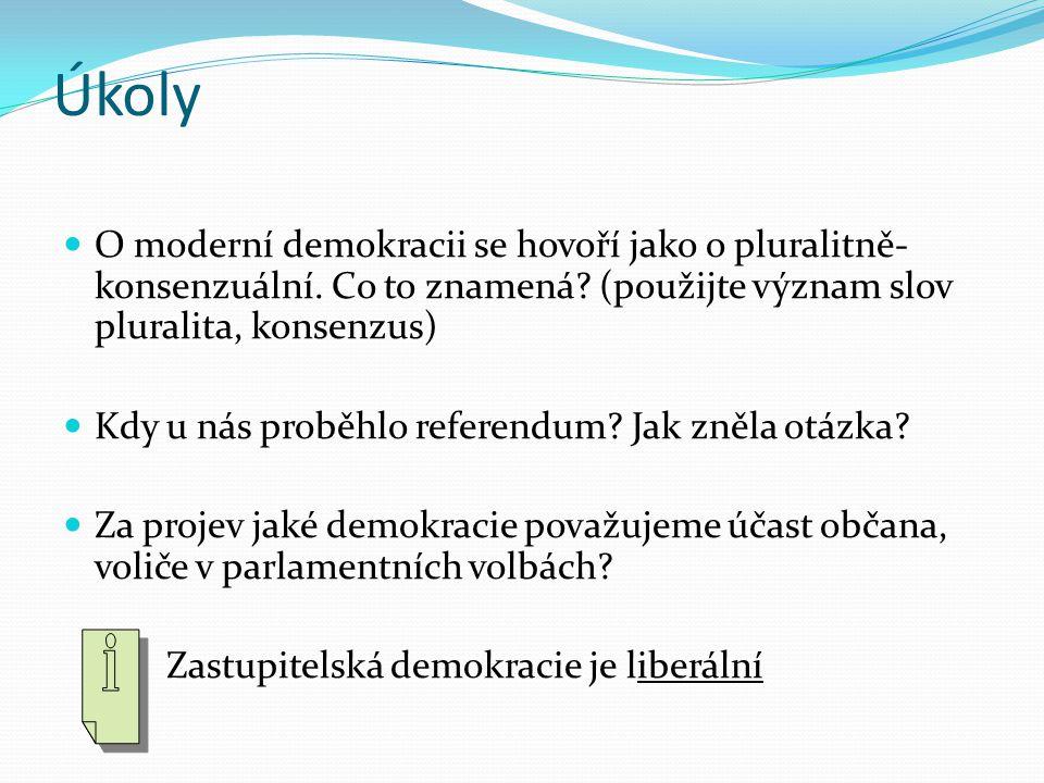 Úkoly O moderní demokracii se hovoří jako o pluralitně- konsenzuální. Co to znamená? (použijte význam slov pluralita, konsenzus) Kdy u nás proběhlo re