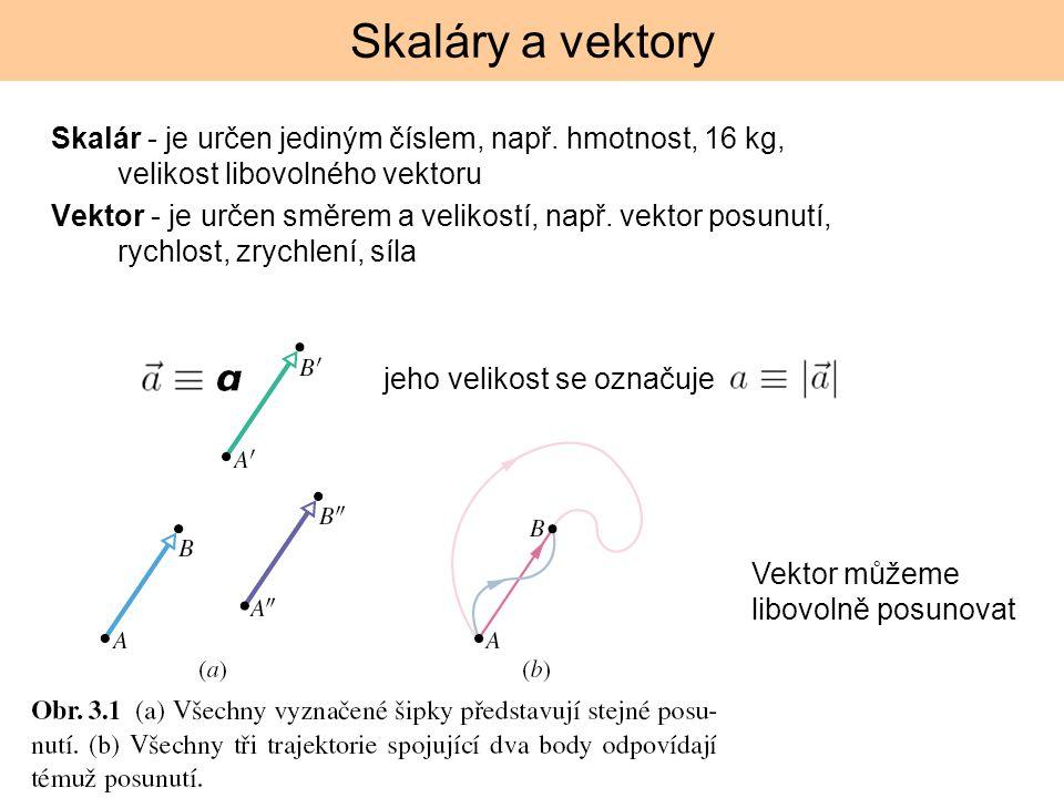 Skaláry a vektory Skalár - je určen jediným číslem, např. hmotnost, 16 kg, velikost libovolného vektoru Vektor - je určen směrem a velikostí, např. ve