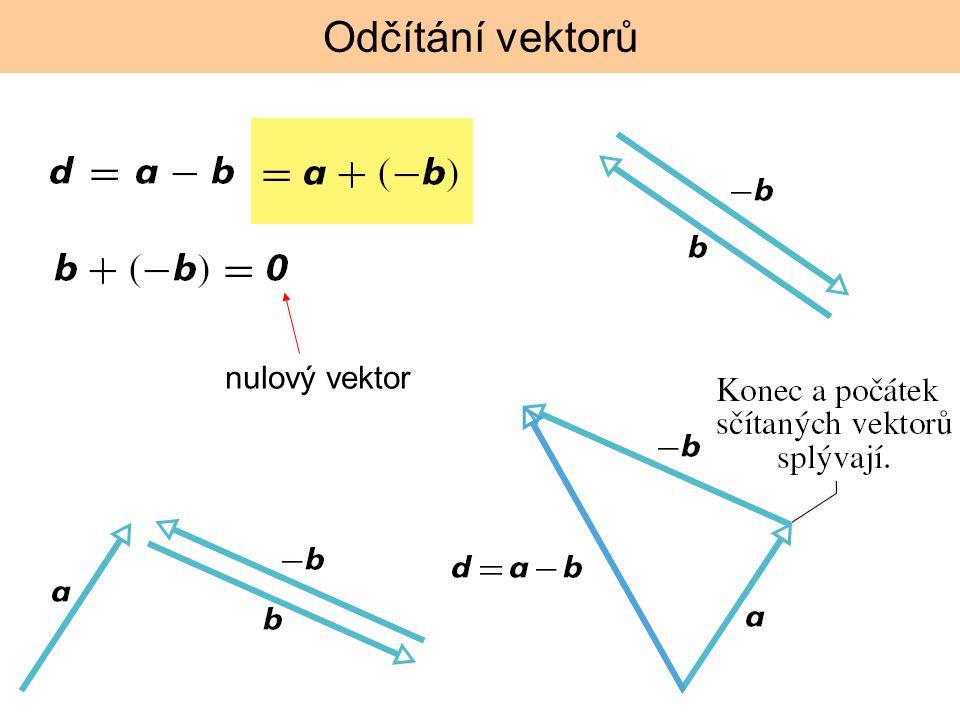 Odčítání vektorů nulový vektor