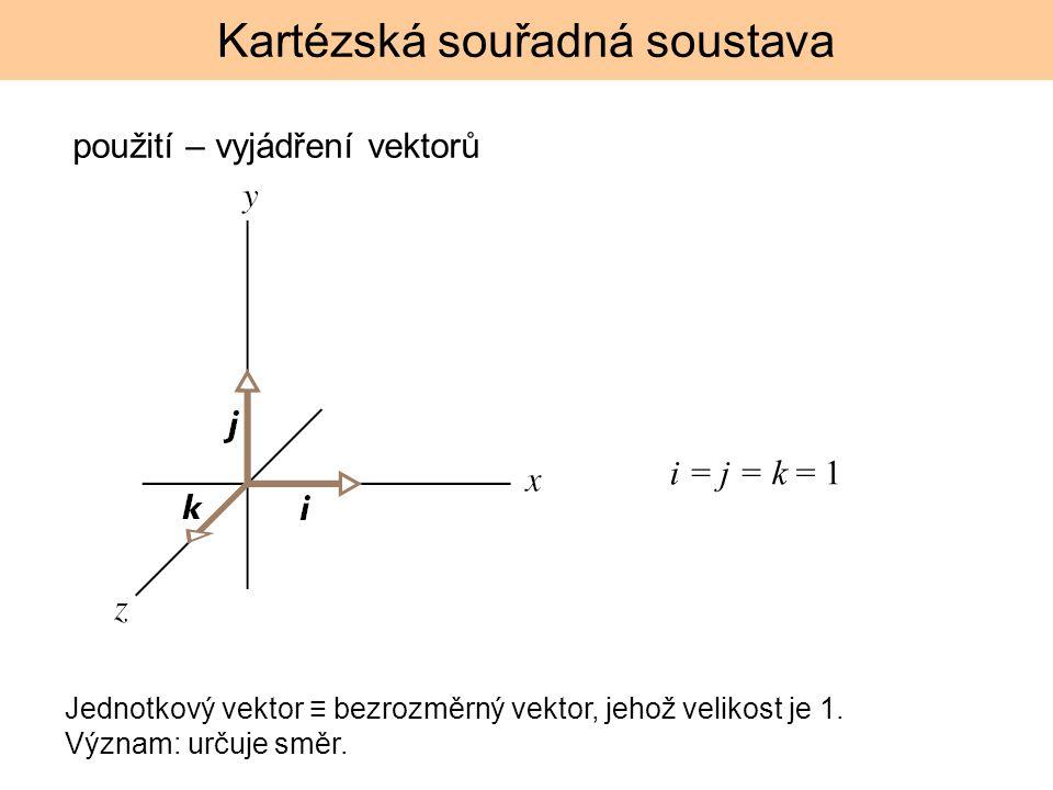 Kartézská souřadná soustava i = j = k = 1 použití – vyjádření vektorů Jednotkový vektor ≡ bezrozměrný vektor, jehož velikost je 1. Význam: určuje směr