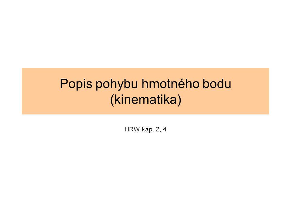 Popis pohybu hmotného bodu (kinematika) HRW kap. 2, 4
