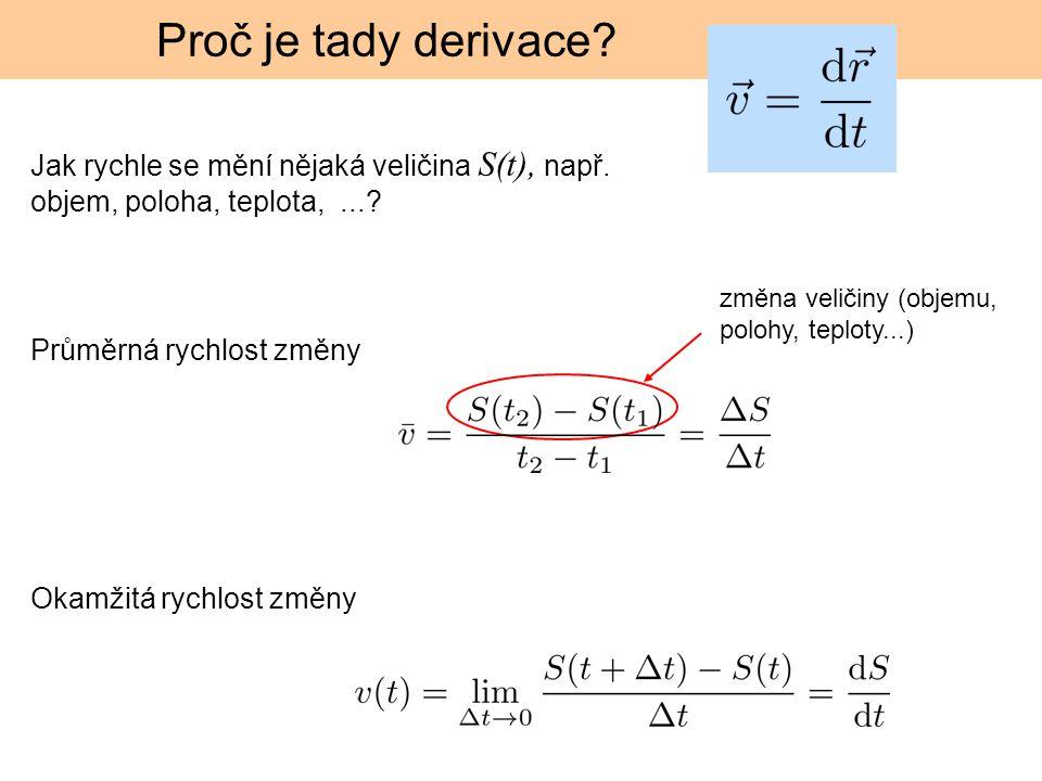 Proč je tady derivace? Jak rychle se mění nějaká veličina S(t), např. objem, poloha, teplota,...? změna veličiny (objemu, polohy, teploty...) Okamžitá