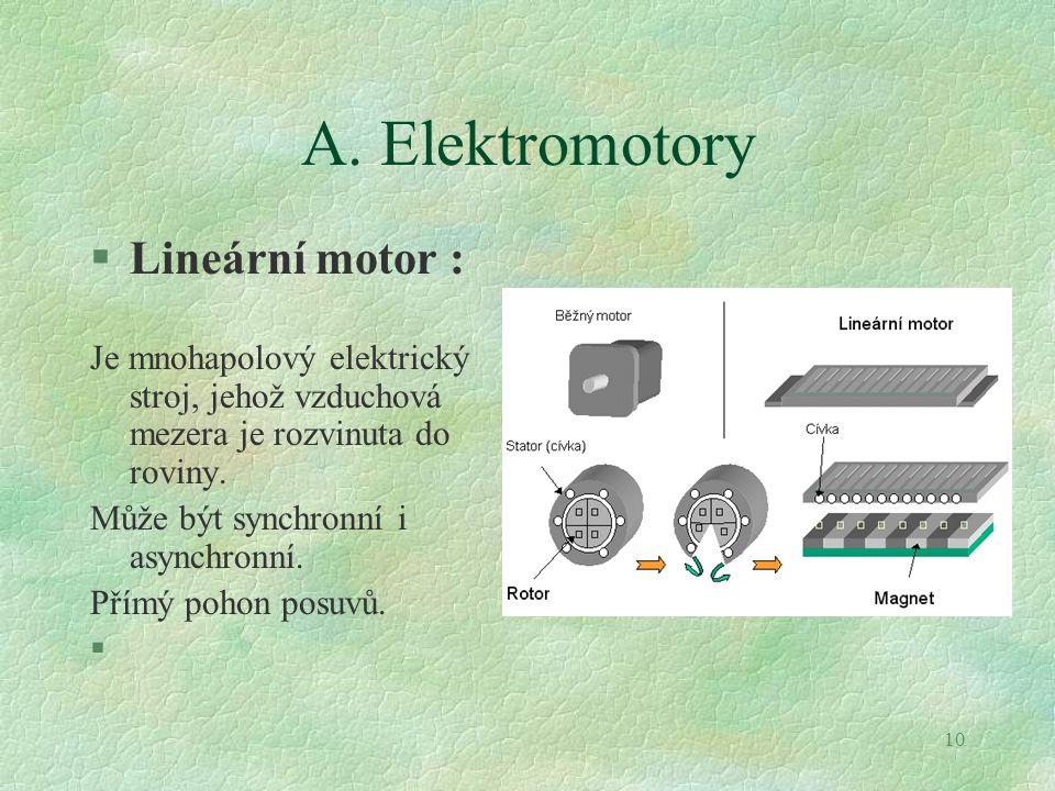 10 A. Elektromotory §Lineární motor : Je mnohapolový elektrický stroj, jehož vzduchová mezera je rozvinuta do roviny. Může být synchronní i asynchronn