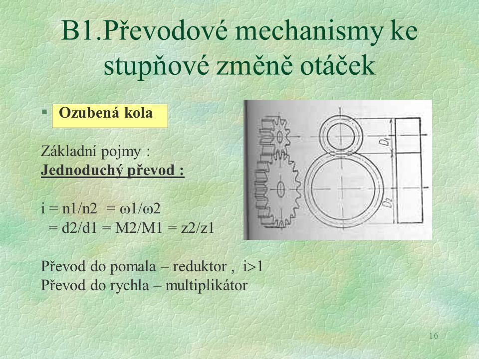 16 B1.Převodové mechanismy ke stupňové změně otáček §Ozubená kola Základní pojmy : Jednoduchý převod : i = n1/n2 =  1/  2 = d2/d1 = M2/M1 = z2/z1 Př