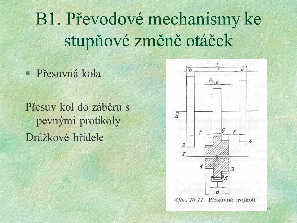 19 B1. Převodové mechanismy ke stupňové změně otáček §Přesuvná kola Přesuv kol do záběru s pevnými protikoly Drážkové hřídele