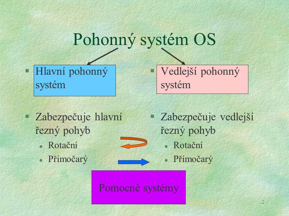 3 Pohonný systém stroje §Rotační pohyb Přímočarý pohyb § Parametry: , M v, F  celkový převodový poměr  celková účinnost  životnost