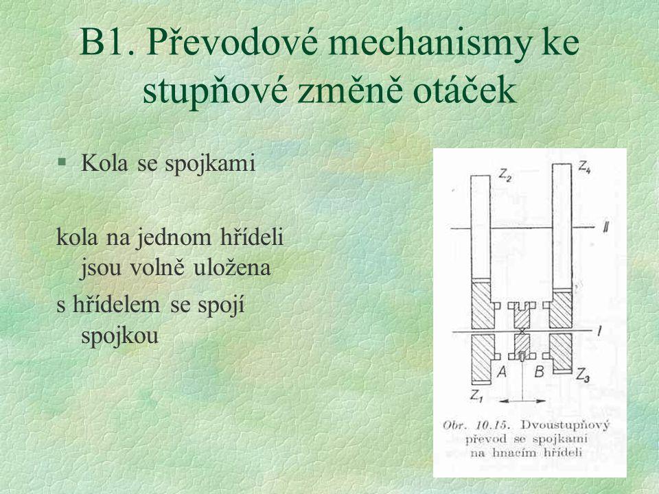 20 B1. Převodové mechanismy ke stupňové změně otáček §Kola se spojkami kola na jednom hřídeli jsou volně uložena s hřídelem se spojí spojkou