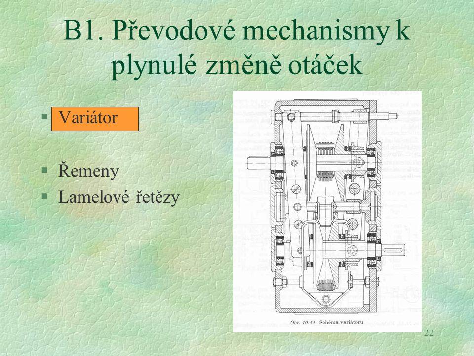 22 B1. Převodové mechanismy k plynulé změně otáček §Variátor §Řemeny §Lamelové řetězy
