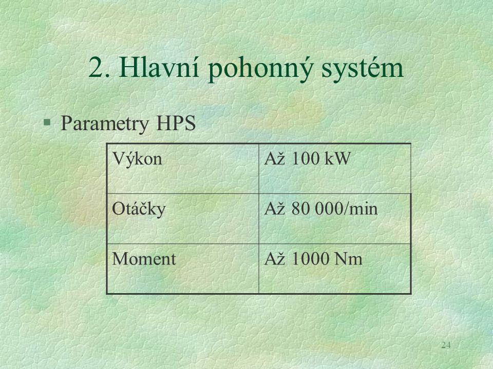 24 2. Hlavní pohonný systém §Parametry HPS VýkonAž 100 kW OtáčkyAž 80 000/min MomentAž 1000 Nm