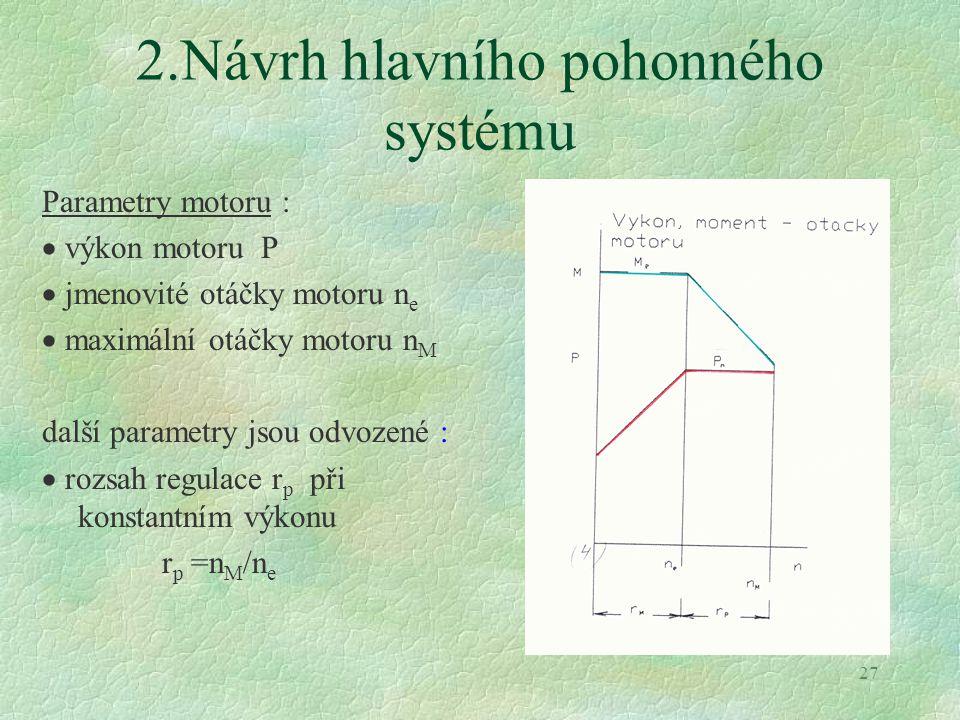 27 2.Návrh hlavního pohonného systému Parametry motoru :  výkon motoru P  jmenovité otáčky motoru n e  maximální otáčky motoru n M další parametry