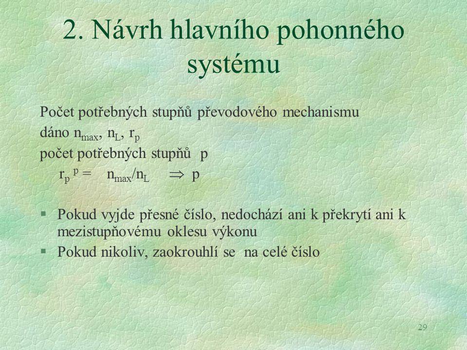 29 2. Návrh hlavního pohonného systému Počet potřebných stupňů převodového mechanismu dáno n max, n L, r p počet potřebných stupňů p r p p = n max /n