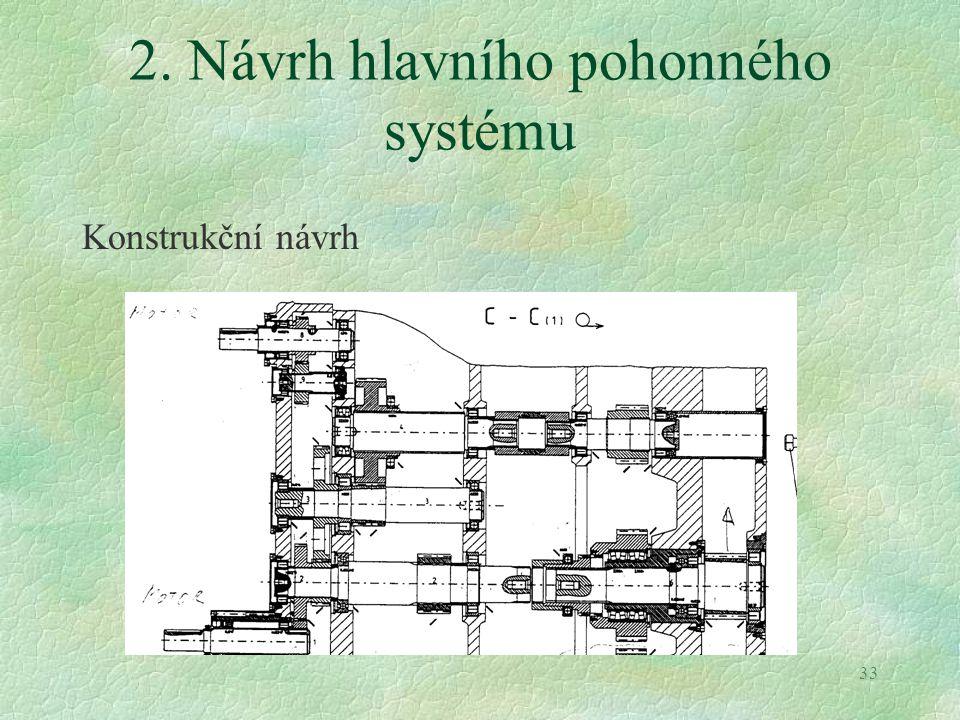 33 2. Návrh hlavního pohonného systému Konstrukční návrh