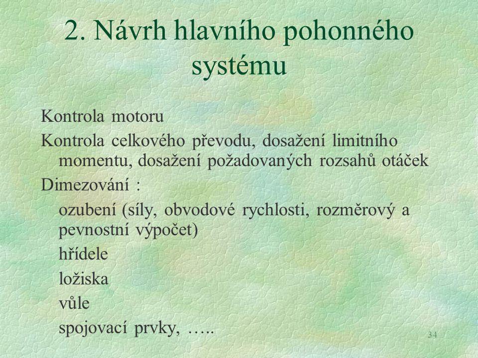 34 2. Návrh hlavního pohonného systému Kontrola motoru Kontrola celkového převodu, dosažení limitního momentu, dosažení požadovaných rozsahů otáček Di