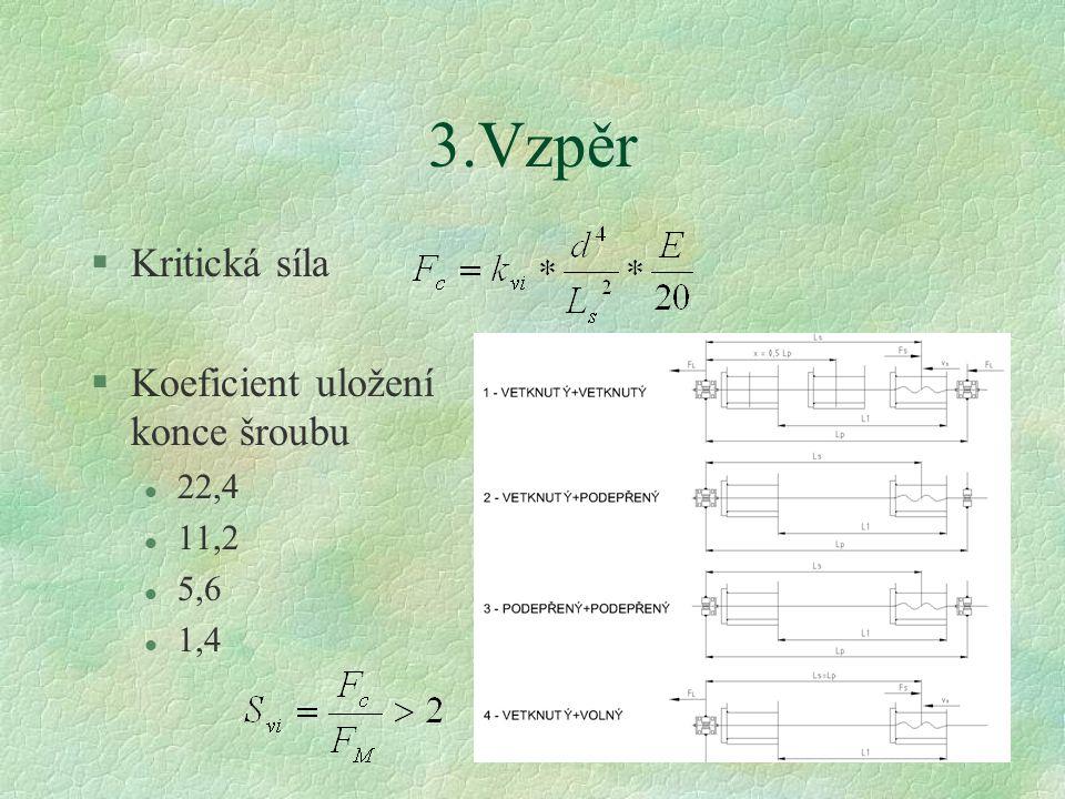 49 3.Vzpěr §Kritická síla §Koeficient uložení konce šroubu l 22,4 l 11,2 l 5,6 l 1,4