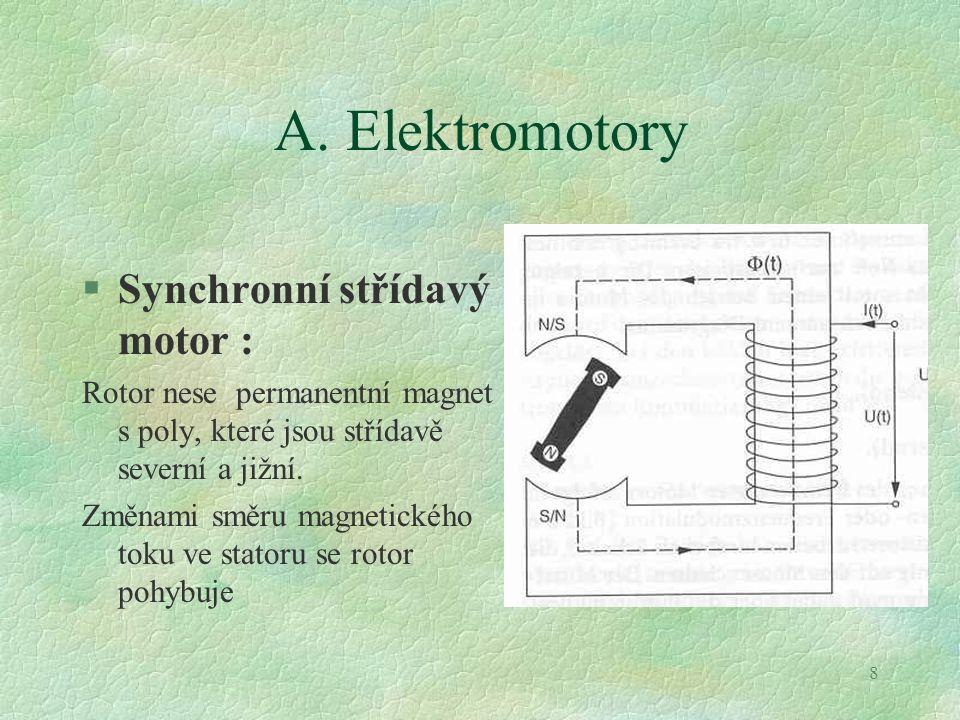 8 A. Elektromotory §Synchronní střídavý motor : Rotor nese permanentní magnet s poly, které jsou střídavě severní a jižní. Změnami směru magnetického