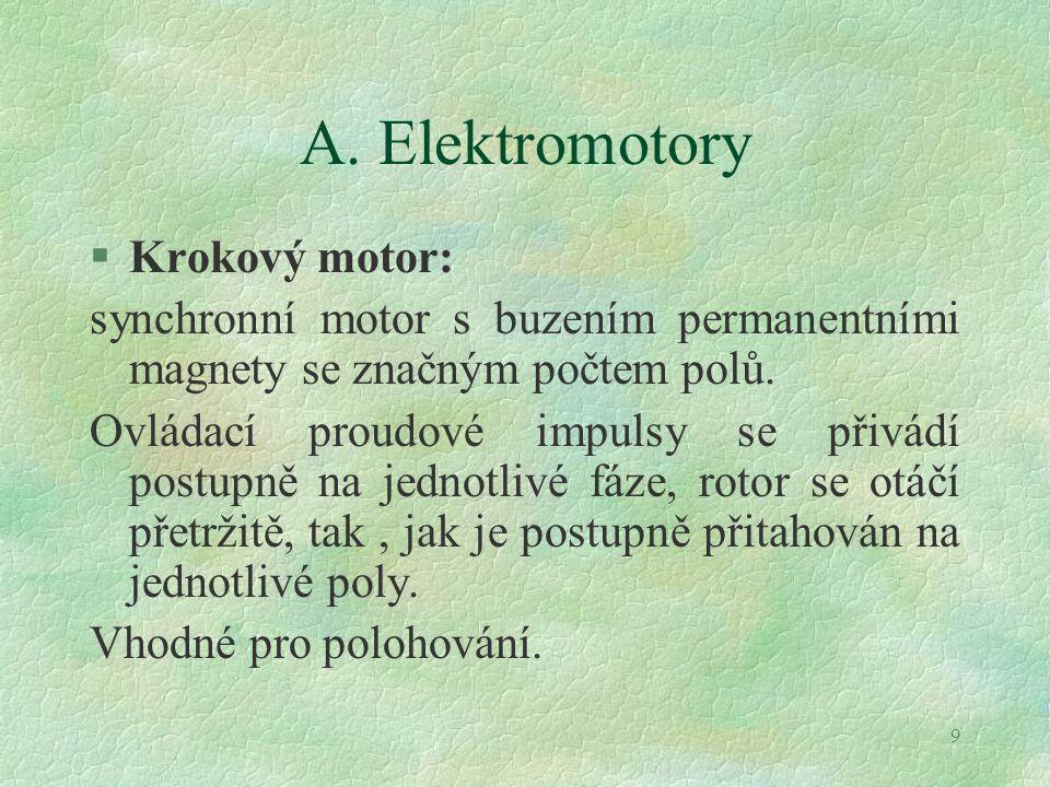 9 A. Elektromotory §Krokový motor: synchronní motor s buzením permanentními magnety se značným počtem polů. Ovládací proudové impulsy se přivádí postu