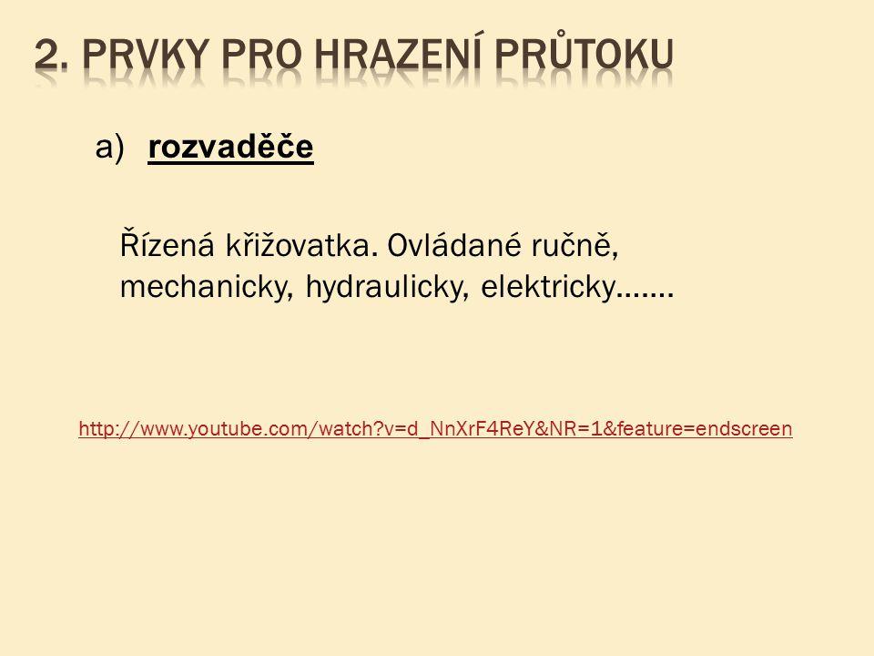 a) rozvaděče Řízená křižovatka. Ovládané ručně, mechanicky, hydraulicky, elektricky……. http://www.youtube.com/watch?v=d_NnXrF4ReY&NR=1&feature=endscre