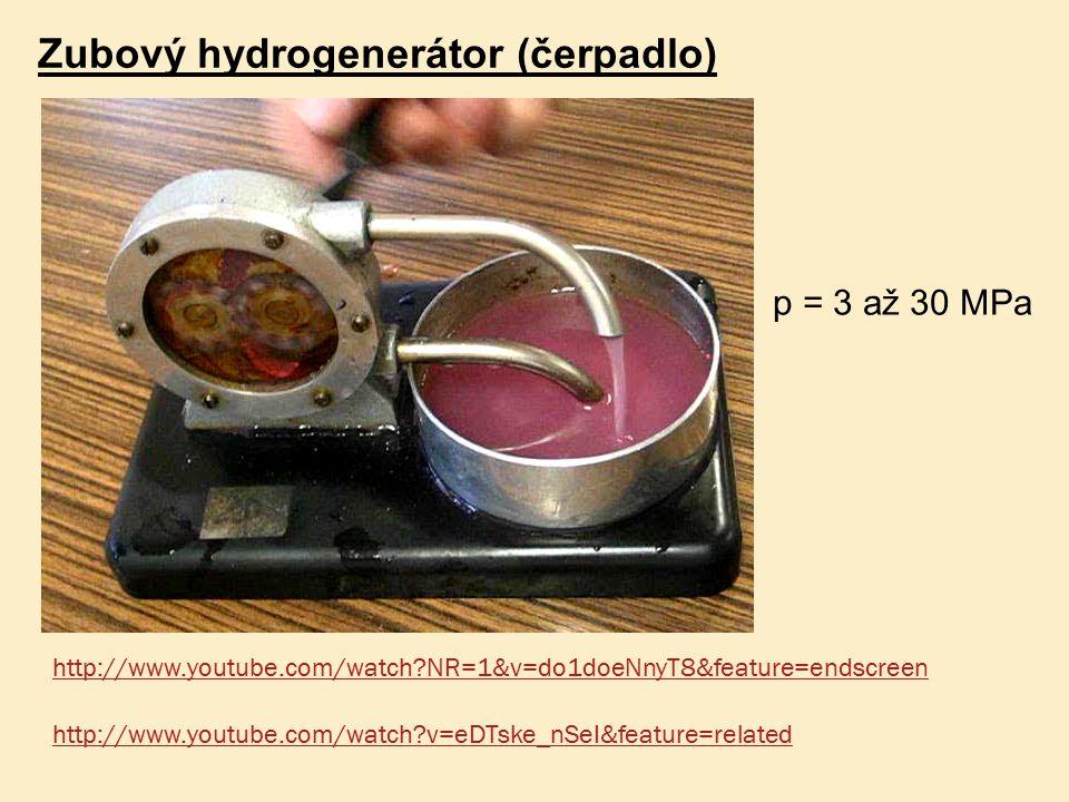 Zubový hydrogenerátor (čerpadlo) p = 3 až 30 MPa http://www.youtube.com/watch?NR=1&v=do1doeNnyT8&feature=endscreen http://www.youtube.com/watch?v=eDTs