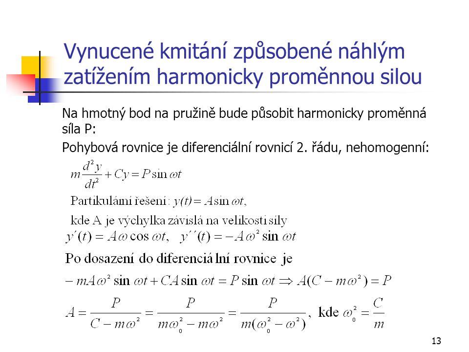13 Vynucené kmitání způsobené náhlým zatížením harmonicky proměnnou silou Na hmotný bod na pružině bude působit harmonicky proměnná síla P: Pohybová rovnice je diferenciální rovnicí 2.