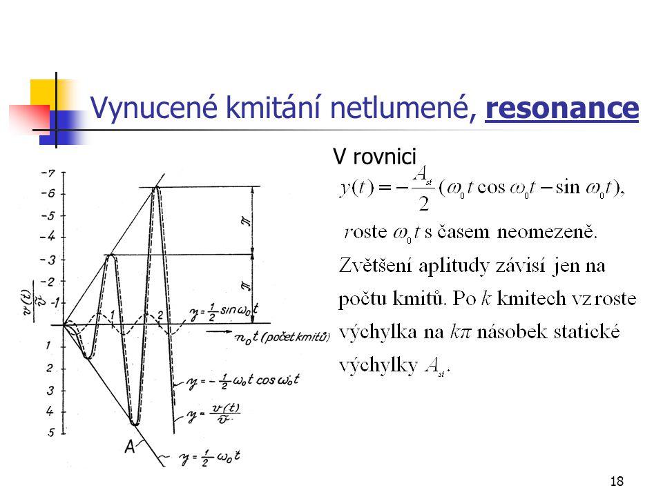 18 Vynucené kmitání netlumené, resonance V rovnici