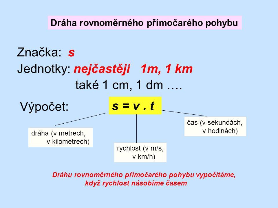 Značka: s Jednotky: nejčastěji 1m, 1 km také 1 cm, 1 dm …. Dráha rovnoměrného přímočarého pohybu Výpočet: s = v. t čas (v sekundách, v hodinách) rychl