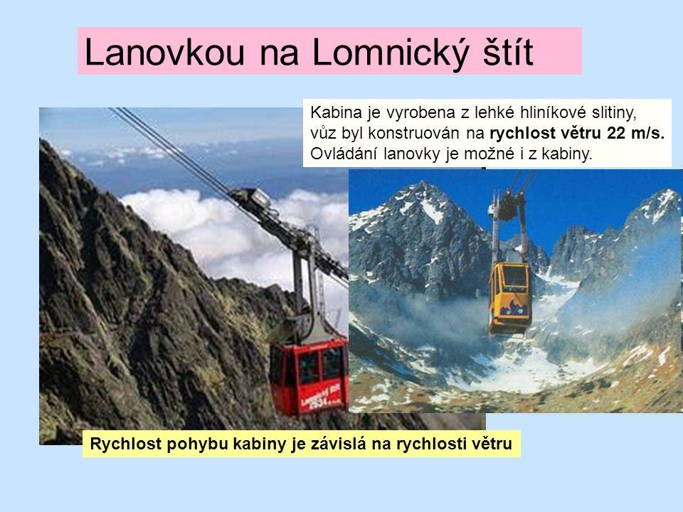 Lanovkou na Lomnický štít Kabina je vyrobena z lehké hliníkové slitiny, vůz byl konstruován na rychlost větru 22 m/s. Ovládání lanovky je možné i z ka