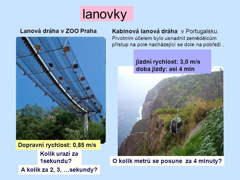 lanovky Lanová dráha v ZOO Praha Dopravní rychlost: 0,85 m/s Kabinová lanová dráha v Portugalsku. Prvotním účelem bylo usnadnit zemědělcům přístup na