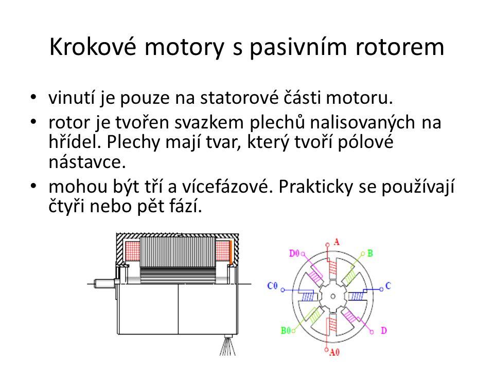Krokové motory s pasivním rotorem vinutí je pouze na statorové části motoru. rotor je tvořen svazkem plechů nalisovaných na hřídel. Plechy mají tvar,