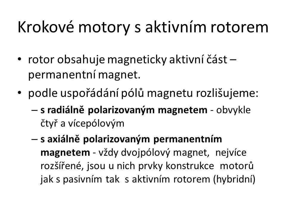 Krokové motory s aktivním rotorem rotor obsahuje magneticky aktivní část – permanentní magnet. podle uspořádání pólů magnetu rozlišujeme: – s radiálně