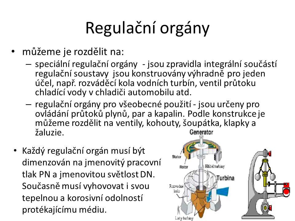 Regulační orgány můžeme je rozdělit na: – speciální regulační orgány - jsou zpravidla integrální součástí regulační soustavy jsou konstruovány výhradn