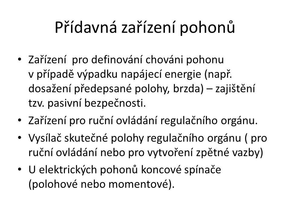 Přídavná zařízení pohonů Zařízení pro definování chováni pohonu v případě výpadku napájecí energie (např. dosažení předepsané polohy, brzda) – zajiště