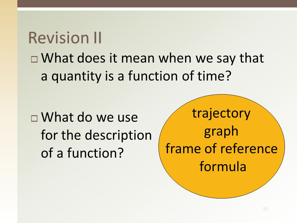 11  What does it mean when we say that a quantity is a function of time.