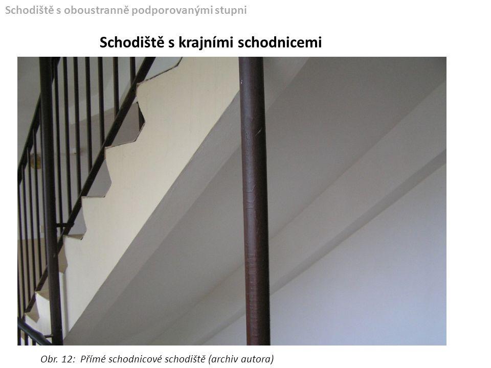 Schodiště s oboustranně podporovanými stupni Schodiště s krajními schodnicemi Obr. 12: Přímé schodnicové schodiště (archiv autora)