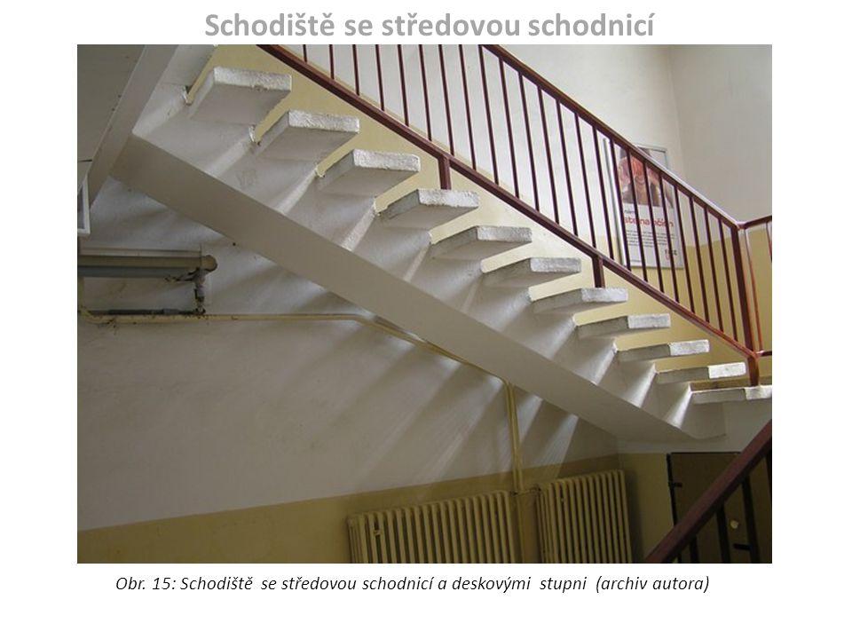 Schodiště se středovou schodnicí Obr. 15: Schodiště se středovou schodnicí a deskovými stupni (archiv autora)