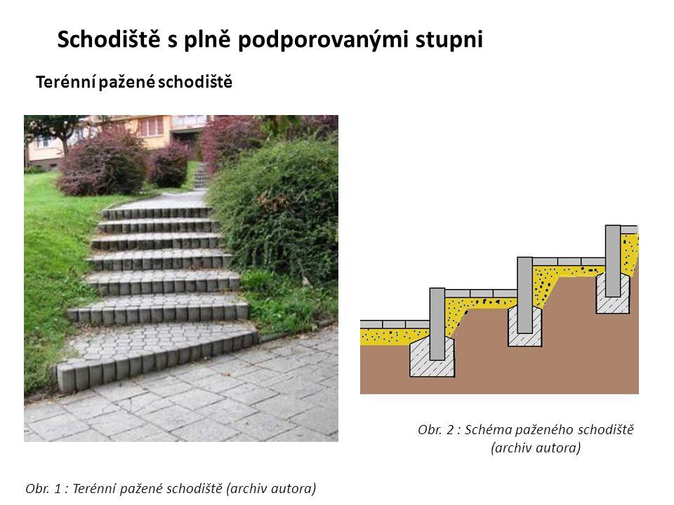 Schodiště s plně podporovanými stupni Terénní pažené schodiště Obr. 1 : Terénní pažené schodiště (archiv autora) Obr. 2 : Schéma paženého schodiště (a