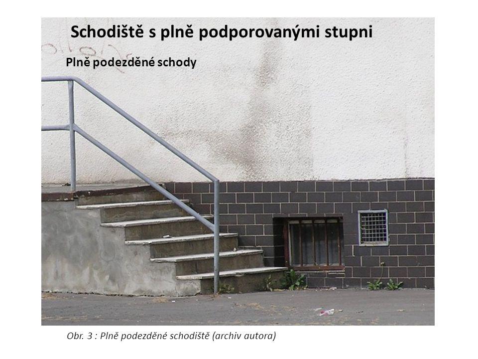 Schodiště s plně podporovanými stupni Plně podezděné schody Obr. 3 : Plně podezděné schodiště (archiv autora)