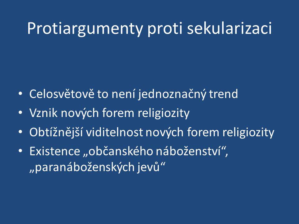 """Protiargumenty proti sekularizaci Celosvětově to není jednoznačný trend Vznik nových forem religiozity Obtížnější viditelnost nových forem religiozity Existence """"občanského náboženství , """"paranáboženských jevů"""
