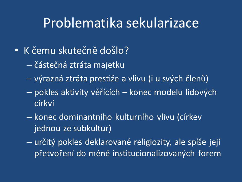 Problematika sekularizace K čemu skutečně došlo? – částečná ztráta majetku – výrazná ztráta prestiže a vlivu (i u svých členů) – pokles aktivity věříc