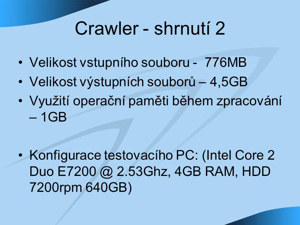Crawler - shrnutí 2 Velikost vstupního souboru - 776MB Velikost výstupních souborů – 4,5GB Využití operační paměti během zpracování – 1GB Konfigurace testovacího PC: (Intel Core 2 Duo E7200 @ 2.53Ghz, 4GB RAM, HDD 7200rpm 640GB)