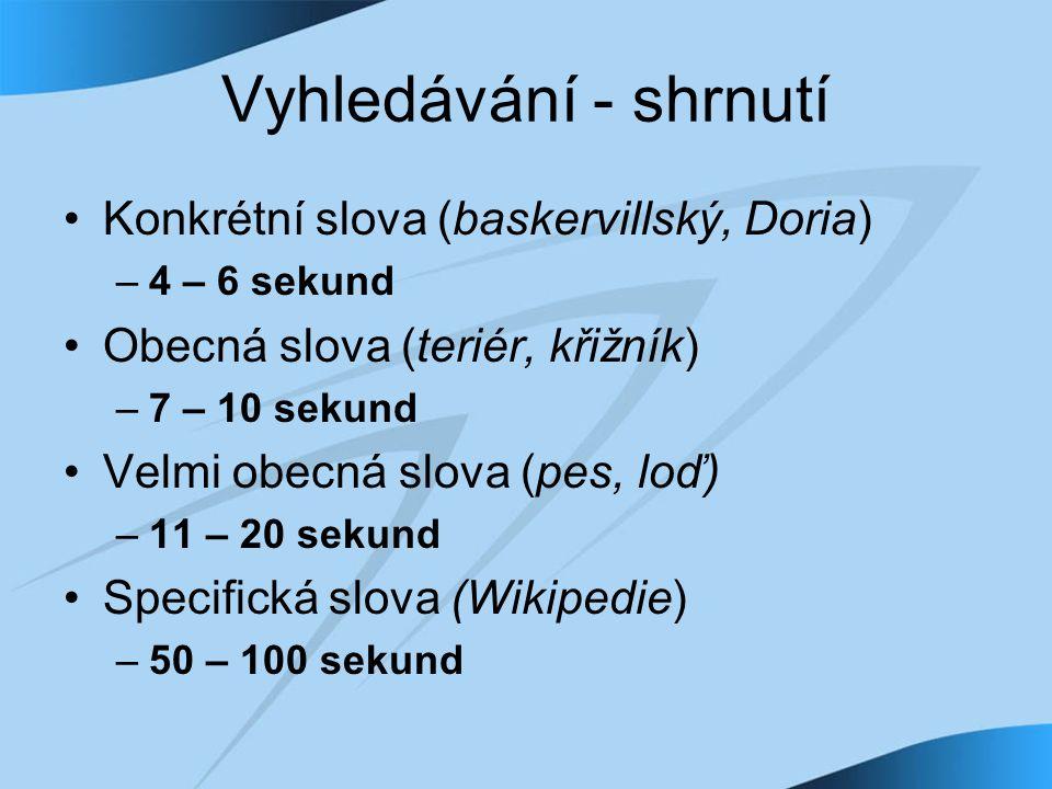 Vyhledávání - shrnutí Konkrétní slova (baskervillský, Doria) –4 – 6 sekund Obecná slova (teriér, křižník) –7 – 10 sekund Velmi obecná slova (pes, loď) –11 – 20 sekund Specifická slova (Wikipedie) –50 – 100 sekund