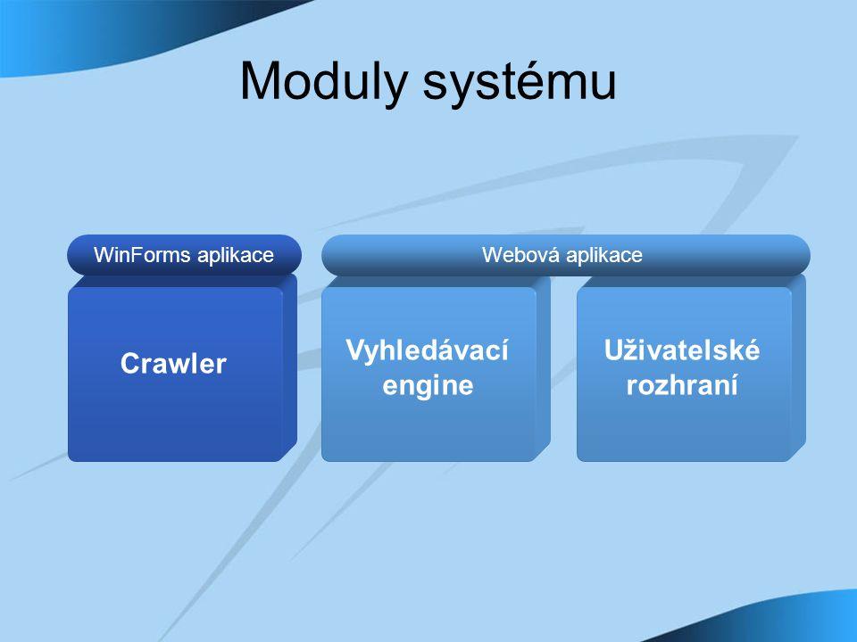 Moduly systému Crawler Webová aplikace Vyhledávací engine Crawler WinForms aplikace Uživatelské rozhraní