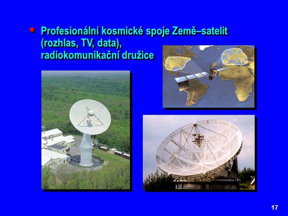  Profesionální kosmické spoje Země–satelit (rozhlas, TV, data), radiokomunikační družice  Profesionální kosmické spoje Země–satelit (rozhlas, TV, data), radiokomunikační družice 17