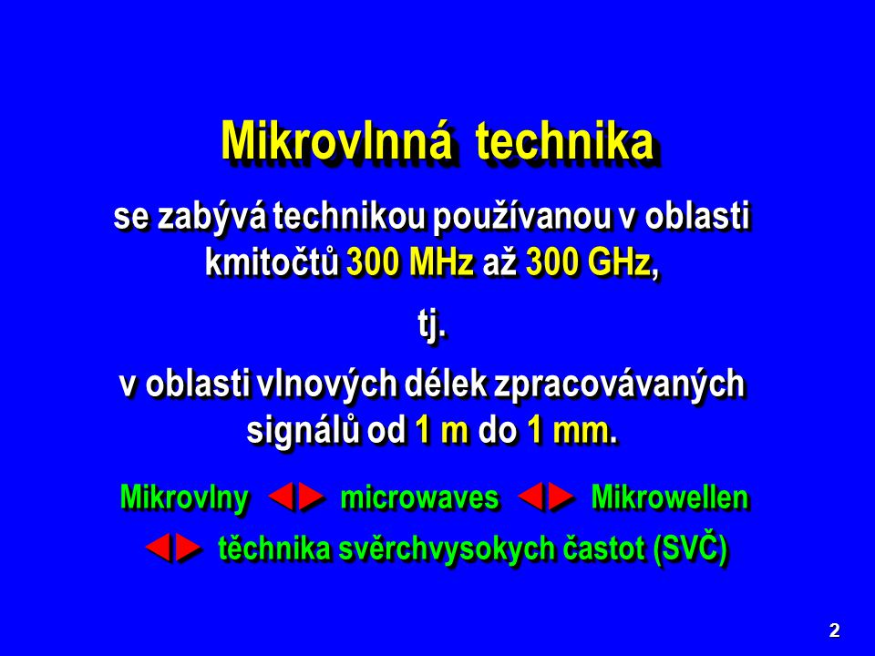 13 Oblasti využití mikrovlnné techniky  Komunikační technika (téměř 90 % všech světo- vých elektronických komunikačních systémů je v sou- časnosti realizováno právě v mikrovlnných pásmech).