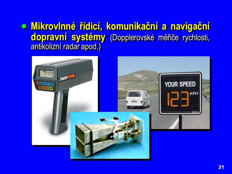  Mikrovlnné řídicí, komunikační a navigační dopravní systémy (Dopplerovské měřiče rychlosti, antikolizní radar apod.) 21