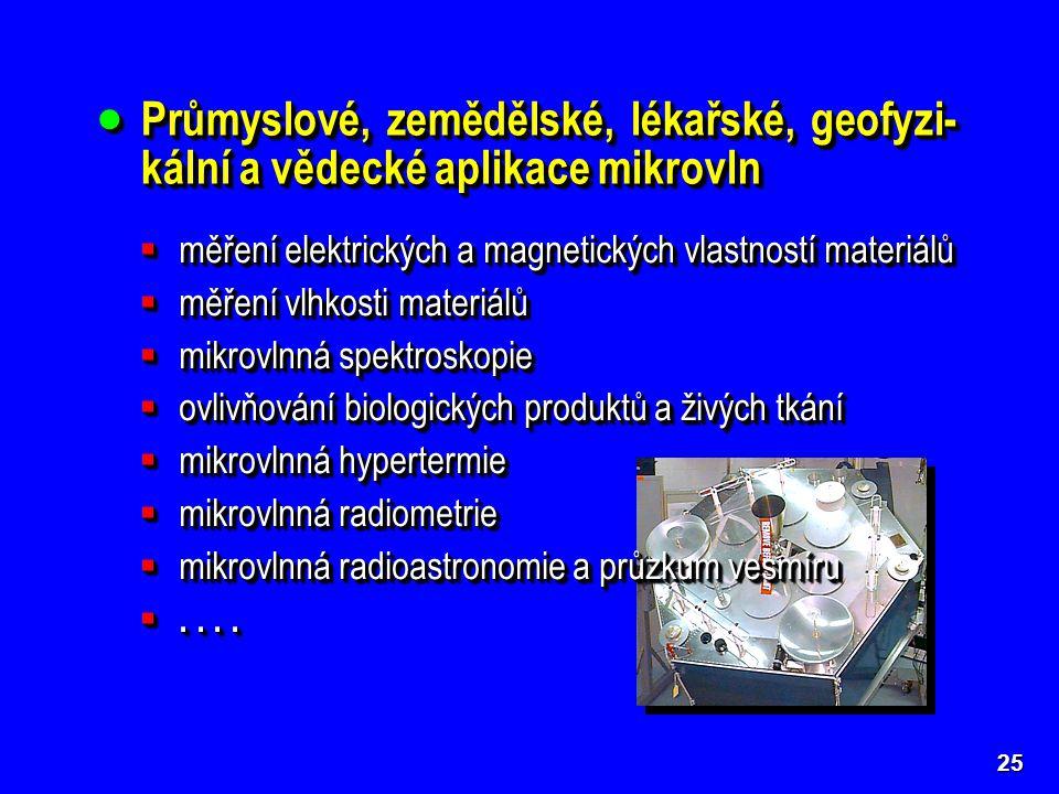  Průmyslové, zemědělské, lékařské, geofyzi- kální a vědecké aplikace mikrovln 25  měření elektrických a magnetických vlastností materiálů  měření vlhkosti materiálů  mikrovlnná spektroskopie  ovlivňování biologických produktů a živých tkání  mikrovlnná hypertermie  mikrovlnná radiometrie  mikrovlnná radioastronomie a průzkum vesmíru ....
