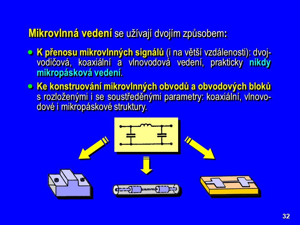 Mikrovlnná vedení se užívají dvojím způsobem :  K přenosu mikrovlnných signálů (i na větší vzdálenosti): dvoj- vodičová, koaxiální a vlnovodová vedení, prakticky nikdy mikropásková vedení.