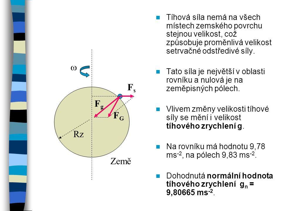 Tíhová síla nemá na všech místech zemského povrchu stejnou velikost, což způsobuje proměnlivá velikost setrvačné odstředivé síly. Tato síla je největš