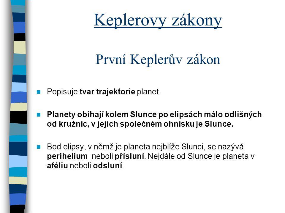 Keplerovy zákony První Keplerův zákon Popisuje tvar trajektorie planet. Planety obíhají kolem Slunce po elipsách málo odlišných od kružnic, v jejich s